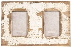 Nástenný drevený vintage fotorámček - 39 * 2 * 26 cm / 2x 10 * 15 cm