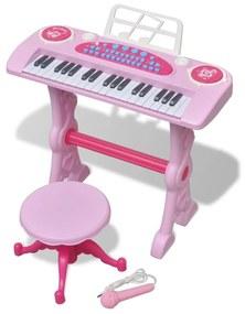 Detské hračkárske klávesy so stoličkou a mikrofónom 37-kláves ružové