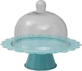 Modrý servírovací stojan na tortu so skleneným poklopom Mauro Ferretti