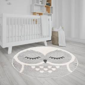 TA Okrúhly detský koberec s motívom sovy 120x120 cm