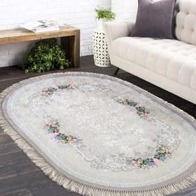 DomTextilu Oválny protišmykový koberec v béžovej farbe 26673-151370