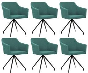 vidaXL Otočné jedálenské stoličky 6 ks, zelené, látka