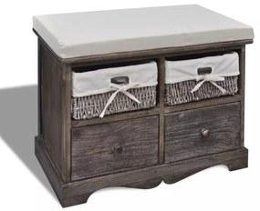 Hnedá drevená úložná komoda s 2 tkanými košíkmi a zásuvkami