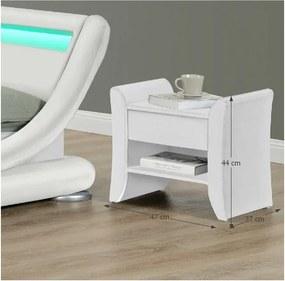TEMPO KONDELA Nočný stolík, biela ekokoža, BOLTON