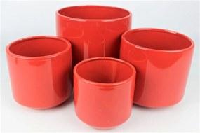 Červený keramický okrúhly kvetináč 11 cm