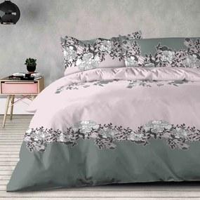XPOSE® Bavlnené obliečky na dve postele YVONA - sivé/ružové