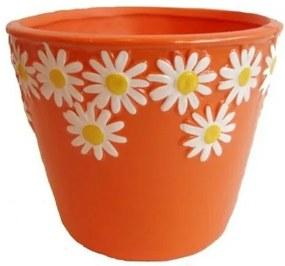 Keramický obal na kvetináč Margaréty oranžová, pr. 12 cm