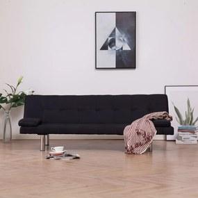 vidaXL Rozkladacia pohovka s 2 vankúšmi, čierna, polyester