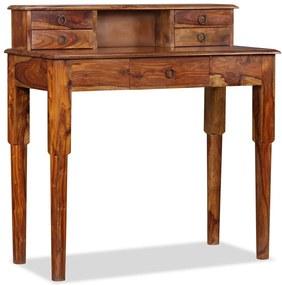 vidaXL Písací stôl zo sheesamového dreva s 5 zásuvkami, 90x40x90 cm