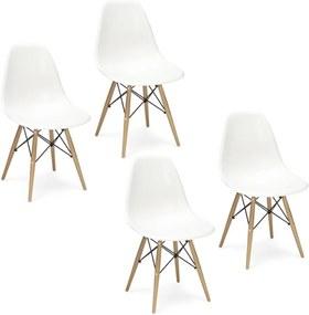 Jedálenské stoličky BASIC biele 4 ks - škandinávsky štýl