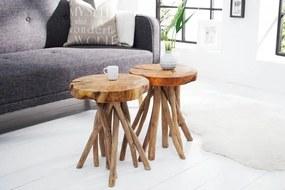 IIG -  Masívny príručný stolík ROOT 30 cm, teak, prírodný