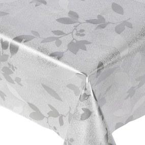 Goldea pvc obrusovina s textilným podkladom - vzor strieborné okrasné lístky - metráž š. 140 cm 140 cm
