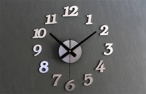 KIK Nástenné interiérové hodiny, samolepiaca, strieborná, KX9714_1