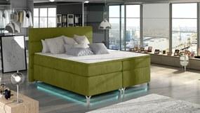 NABBI Avellino 140 čalúnená manželská posteľ s úložným priestorom zelená