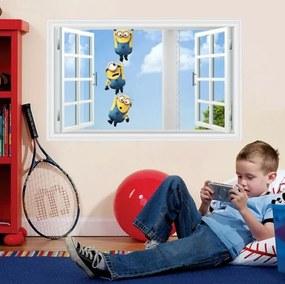 ZooYoo detská nálepka na stenu mimoni v okne 50 x 70 cm