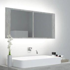 vidaXL LED kúpeľňová zrkadlová skrinka betónovo-sivá 100x12x45 cm