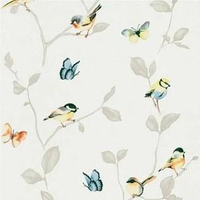 Vliesové tapety na stenu Natural Living 6498-08, rozměr 10,05 m x 0,53 cm, vtáky a motýle farební na hnedých vetvách s lístkami, Erismann