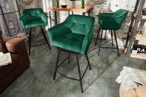 Barová stolička Loft 100cm zelená zamatová