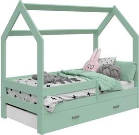 AMI nábytok Detská posteľ DOMČEK D3 80x160cm masív mäta