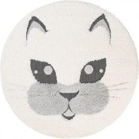 Detský kusový koberec Mačka krémový, Velikosti 120x120cm