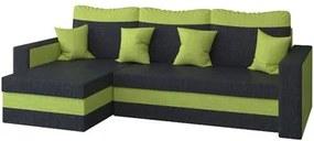 Rohová rozkladacia sedacia súprava MADO Čierna/zelená