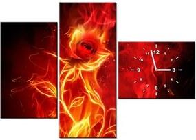 Tlačený obraz s hodinami Ruža v ohni 100x70cm ZP1397A_3AW