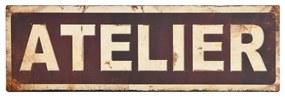 Kovová ceduľa Antic Line Atelier, 35 × 11 cm