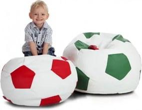 Ecopuf Detský MINI sedací vak ECOPUF - FOOTBALL S - ekokoža E6 - Červená