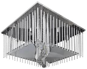 Štvorcová krištáľová stropná lampa s hliníkovými ozdobami