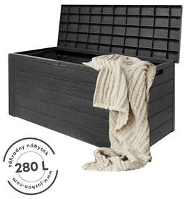 Jurhan Odkladací box Woodebox so sklápateľným vrchnákom antracitový 280L - 120x46x57cm