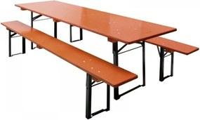 DEMA Sklápateľný pivný set 220x70 cm, oranžový