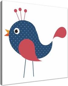Obraz na plátne Modrý bodkovaný vtáčik 30x30cm 3061A_1AI