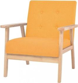Kreslo textil / drevo Dekorhome Žltá
