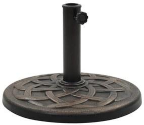 vidaXL Stojan na slnečník bronzový polyresinový okrúhly 11 kg