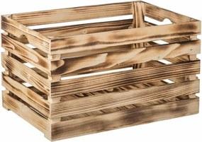 ČistéDrevo Opálená drevená debnička 46 x 32 x 30 cm