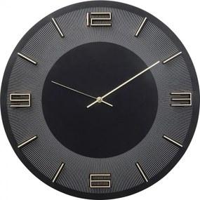 KARE DESIGN Nástenné hodiny Leonardo čierno zlatá