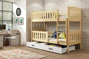 Poschodová posteľ - KUBO - 190x80cm - Borovica - Biela