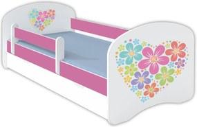 OR Posteľ Mery ružová - viac variantov Motív: E - Kvetinové srdce, Variant úložný box: Bez úložného boxu, Rozmer lôžka: 140x70