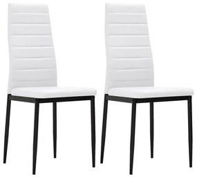 Biele kuchynské stoličky s úzkymi líniami 2 ks