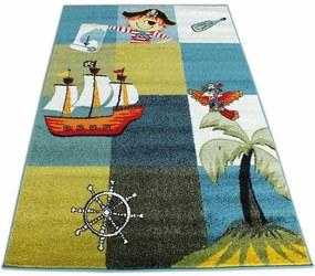 MAXMAX Detský koberec Pirátska loď - modrý