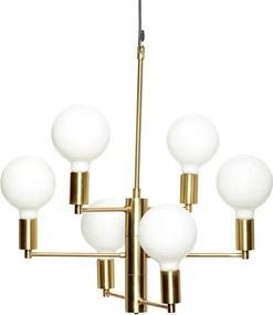 Hübsch Zlatý kovový luster Brass (vrátane 6 LED žiaroviek)
