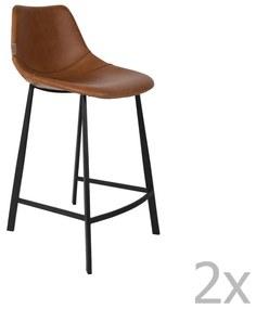 Sada 2 hnedých vysokých stoličiek Dutchbone Franky, výška 91 cm