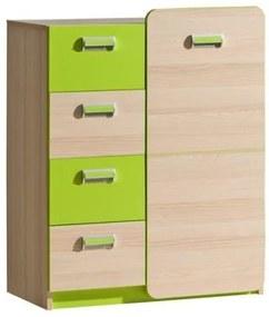Komoda, 1 dveřová se 4 zásuvkami, jasan / zelená, EGO L6 06023901 Tempo Kondela