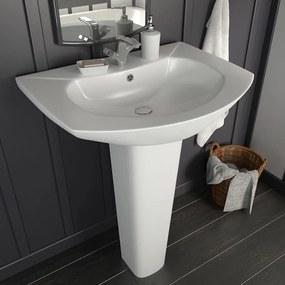vidaXL Voľne stojace umývadlo s podstavcom biele 650x520x200 mm keramické