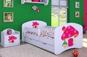 MAXMAX Detská posteľ so zásuvkou 180x90cm RUŽOVÝ hríbik