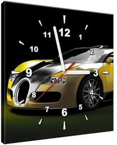 Obraz s hodinami Žlté Bugatti Veyron 30x30cm ZP2380A_1AI