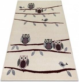 Detský kusový koberec Sovy krémový, Velikosti 190x270cm
