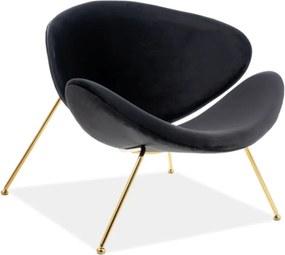 Čierne relaxačné kreslo so zlatými nohami MAJOR VELVET
