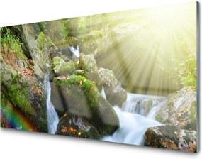 Sklenený obklad Do kuchyne Vodopád Dúha Príroda Potok