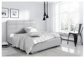 Elegantná manželská posteľ Caffara 120x200, šedá, jemná poťahová látka